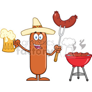 8472 Royalty Free RF Clipart Illustration Happy Mexican Sausage Cartoon Character Holding A Beer And Weenie Next To BBQ Vector Illustration Isolated On White clipart. Commercial use image # 396562