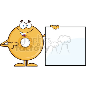 8660 royalty free rf clipart illustration donut cartoon character showing a blank sign vector illustration isolated on white