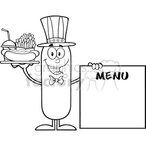 8499 Royalty Free Black And White Patriotic Sausage Cartoon Character Carrying A Hot Dog, French Fries And Cola Next To Menu Board Vector Illustration Isolated On White