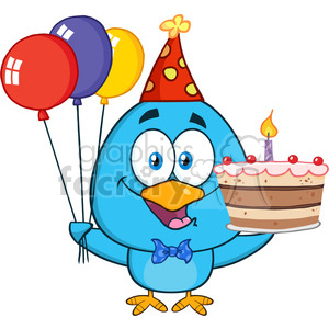 8848 royalty free rf clipart illustration cute blue bird holding up a colorful balloons and birthday cake vector illustration isolated on white