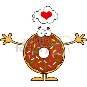 8696 Royalty Free RF Clipart Illustration Chocolate Donut Cartoon Character With Sprinkles Thinking Of Love And Wanting A Hug Vector Illustration Isolated On White clipart. Royalty-free image # 396638