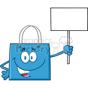 8761 Royalty Free RF Clipart Illustration Blue Shopping Bag Cartoon Character Holding Up A Blank Sign Vector Illustration Isolated On White clipart. Royalty-free image # 396658