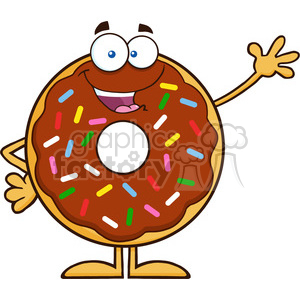 8686 Royalty Free RF Clipart Illustration Cute Chocolate Donut Cartoon Character With Sprinkles Waving Vector Illustration Isolated On White clipart. Commercial use image # 396662