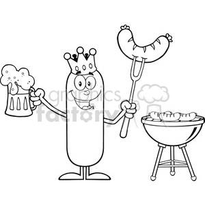 8474 Royalty Free RF Clipart Illustration Black And White Happy King Sausage Cartoon Character Holding A Beer And Weenie Next To BBQ Vector Illustration Isolated On White clipart. Commercial use image # 396692
