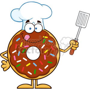 8690 Royalty Free RF Clipart Illustration Chocolate Chef Donut Cartoon Character With Sprinkles Holding A Slotted Spatula Vector Illustration Isolated On White clipart. Royalty-free image # 396710