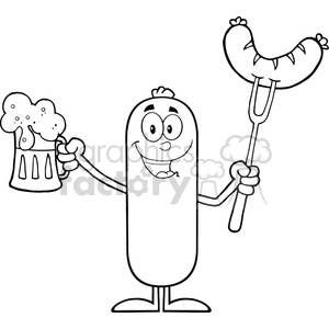 8447 Royalty Free RF Clipart Illustration Black And White Happy Sausage Cartoon Character Holding A Beer And Weenie On A Fork Vector Illustration Isolated On White clipart. Commercial use image # 396732