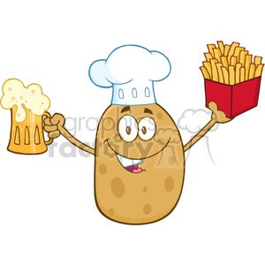 8795 Royalty Free RF Clipart Illustration Chef Potato Cartoon Character Holding Fries And Holding A Beer Vector Illustration Isolated On White clipart. Royalty-free image # 396756