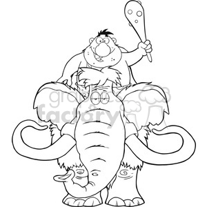 8753 Royalty Free RF Clipart Illustration Black And White Happy Caveman Over Mammoth Vector Illustration Isolated On White