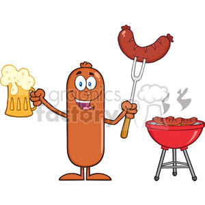 8469 Royalty Free RF Clipart Illustration Happy Sausage Cartoon Character Holding A Beer And Weenie Next To BBQ Vector Illustration Isolated On White clipart. Commercial use image # 396842