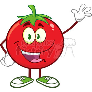 8386 Royalty Free RF Clipart Illustration Happy Tomato Cartoon Mascot Character Waving Vector Illustration Isolated On White clipart. Commercial use image # 396844