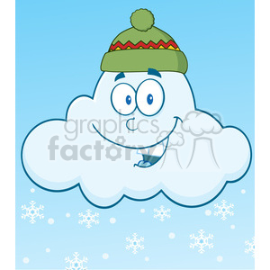 7032 Royalty Free RF Clipart Illustration Smiling Cloud With Snowflakes Cartoon Mascot Character clipart. Commercial use image # 396882