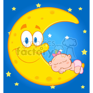 Royalty Free RF Clipart Illustration Cute Baby Girl Sleeps On The Smiling Moon Over Blue Sky With Stars clipart. Commercial use image # 396902
