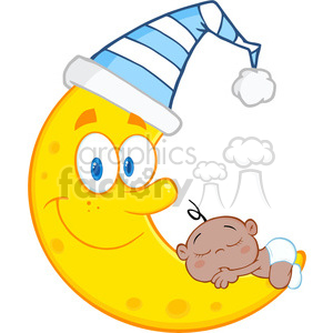 Royalty Free RF Clipart Illustration Cute African American Baby Boy Sleeps On The Smiling Moon With Sleeping Hat clipart. Commercial use image # 396922