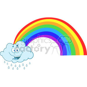 Royalty Free RF Clipart Illustration Happy Cloud Raining With Rainbow clipart. Royalty-free image # 396932