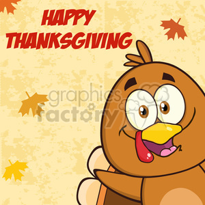 8980 Royalty Free RF Clipart Illustration Happy Turkey Bird Cartoon Character Looking From A Corner Vector Illustration Greeting Card