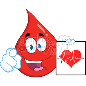 Royalty Free RF Clipart Illustration Red Blood Drop Cartoon Mascot Character Pointing With Finger And Presenting Ecg Graph On Red Heart clipart. Royalty-free image # 396968