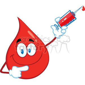 Royalty Free RF Clipart Illustration Red Blood Drop Cartoon Mascot Character Holding Up A Syringe clipart. Royalty-free image # 396978