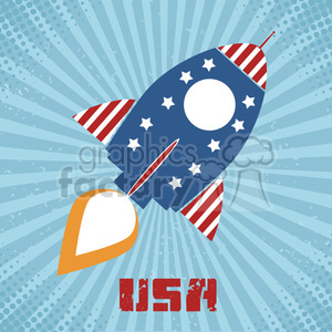 8318 Royalty Free RF Clipart Illustration Retro Rocket With USA Flag Concept Vector Illustration With Text clipart. Royalty-free image # 397028