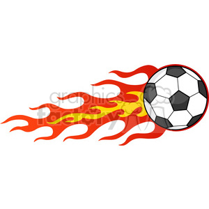 clipart - Royalty Free RF Clipart Illustration Flaming Soccer Ball.