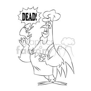 cartoon chicken chef holding a broken egg black white clipart. Royalty-free image # 397381