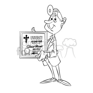 doug the cartoon doctor holding university degree black white clipart. Commercial use image # 397391
