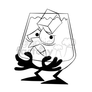 larry the cartoon glass character cold from ice black white clipart. Royalty-free image # 397401