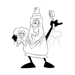 mo the toothpaste cartoon character holding a tooth black white clipart. Royalty-free image # 397411