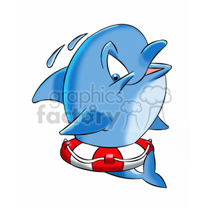 dallas the cartoon dolphin stuck in a life saver clipart. Royalty-free image # 397421