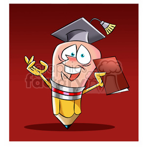 woody the cartoon pencil character graduating from school clipart. Commercial use image # 397431