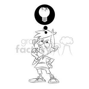 luke the teen cartoon character with broken idea black white clipart. Commercial use image # 397441