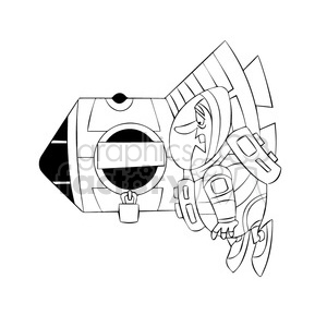 scott the astronaut cartoon character locked out of ISS black white clipart. Royalty-free image # 397541