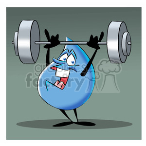 aqua the cartoon water drop lifting weights clipart. Commercial use image # 397581