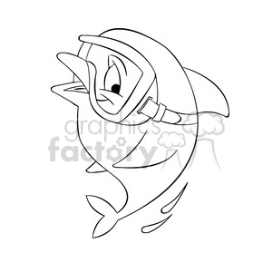 dallas the cartoon dolphin wearing scuba mask black white clipart. Commercial use image # 397721