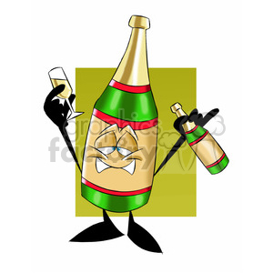 cartoon bottle of champagne drunk character clipart. Royalty-free image # 397751