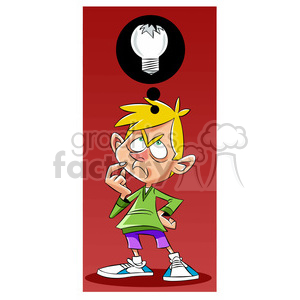 luke the teen cartoon character with broken idea clipart. Commercial use image # 397761