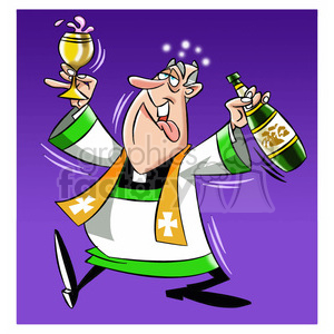 cartoon character mascot priest religion religious god pray preach bishop drunk paul
