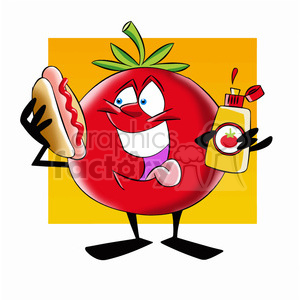 tom the cartoon tomato character eating a hotdog clipart. Commercial use image # 397801