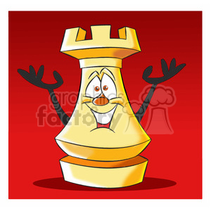 cartoon chess piece character rook