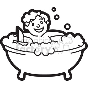 boy in the bathtub black and white outline clipart. Royalty-free image # 397939