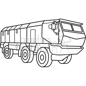 military armored mobile missle vehicle outline clipart. Commercial use image # 397979