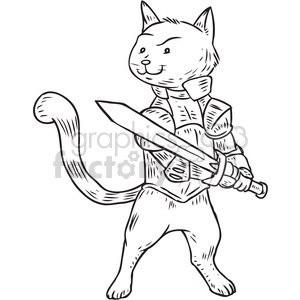 cat knight vector illustration clipart. Commercial use image # 398089