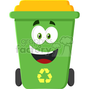 royalty free rf clipart illustration happy green recycle bin cartoon character modern flat design illustration isolated on white background clipart. Royalty-free image # 398880