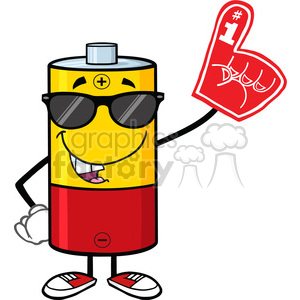 royalty free rf clipart illustration funny battery cartoon mascot character with sunglases wearing a foam finger vector illustration isolated on white clipart. Royalty-free image # 398890