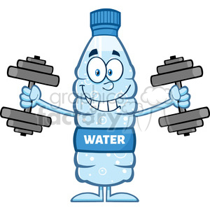 royalty free rf clipart illustration funny water plastic bottle cartoon mascot character working out with dumbbells vector illustration isolated on white clipart. Royalty-free image # 398927