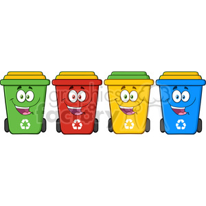 royalty free rf clipart illustration four color recycle bins cartoon character vector illustration isolated on white background clipart. Commercial use image # 398937
