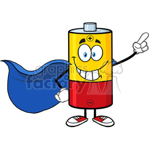 royalty free rf clipart illustration smiling battery cartoon mascot character super hero vector illustration isolated on white clipart. Royalty-free image # 398947