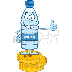 royalty free rf clipart illustration smiling water plastic bottle cartoon mascot character giving a thumb up and standing on coins vector illustration isolated on white clipart. Commercial use image # 398957