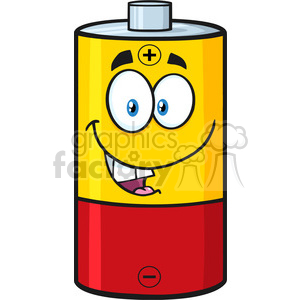 royalty free rf clipart illustration happy battery cartoon mascot character vector illustration isolated on white clipart. Royalty-free image # 398965