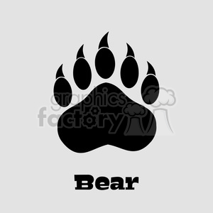 9222 royalty free rf clipart illustration black bear paw with claws vector illustration isolated on white