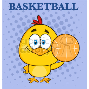 royalty free rf clipart illustration cute yellow chick cartoon character holding a basketball vector illustration with background and text clipart. Commercial use image # 398995
